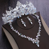 Silver-Plated Crystal, Flowers and Rhinestone Tiara, Necklace & Earrings Jewelry Set