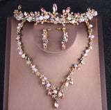 Baroque Crystal and Rhinestone Tiara, Necklace & Earrings Jewelry Set