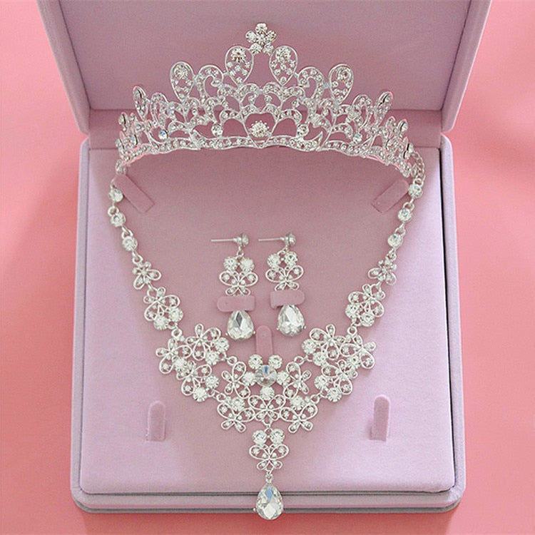 Sparkling Rhinestone and Silver-Plated Crystal Tiara, Necklace & Earrings Jewelry Set