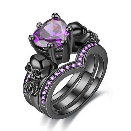 Gothic Skull and Crystal Heart Cubic Zirconia Wedding Ring