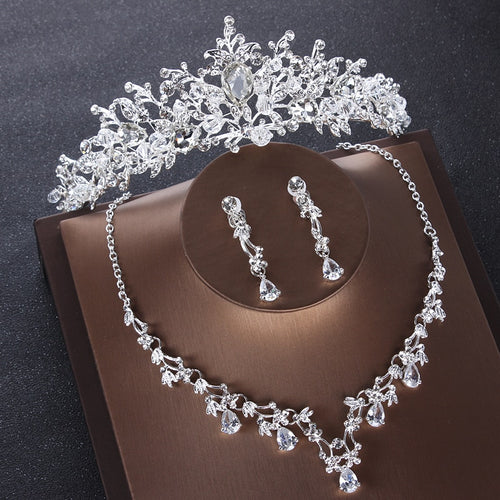 Baroque Silver Color Crystal Tiara, Necklace & Earrings Jewelry Set