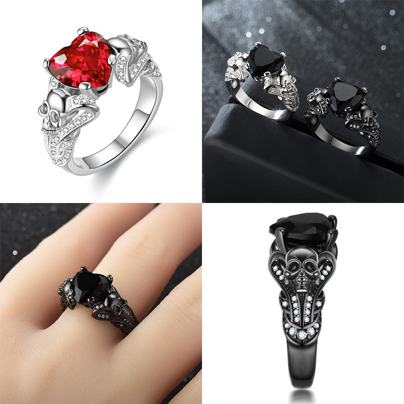 Skull and Crystal Heart Cubic Zirconia Punk Wedding Ring
