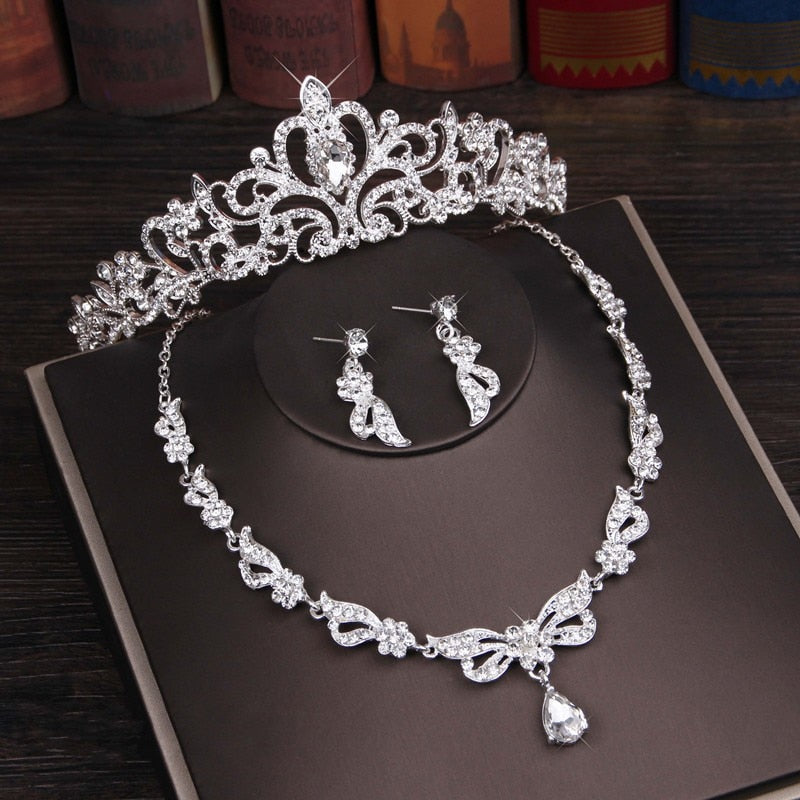 Rhinestone, Crystal and Butterfly Tiara, Necklace & Earrings Wedding Jewelry Set