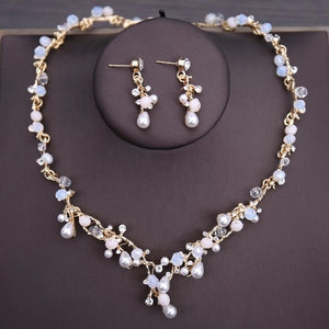 Crystal, Beads, Pearl, Butterfly, Flower and Rhinestone Tiara, Necklace & Earrings Jewelry Set