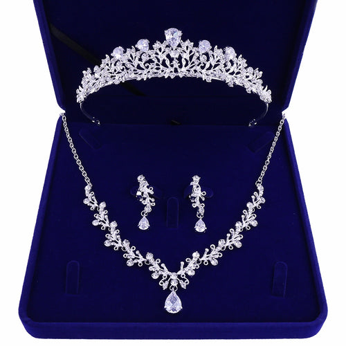 Crystal, Leaf and Rhinestone Tiara, Necklace & Earrings Jewelry Set