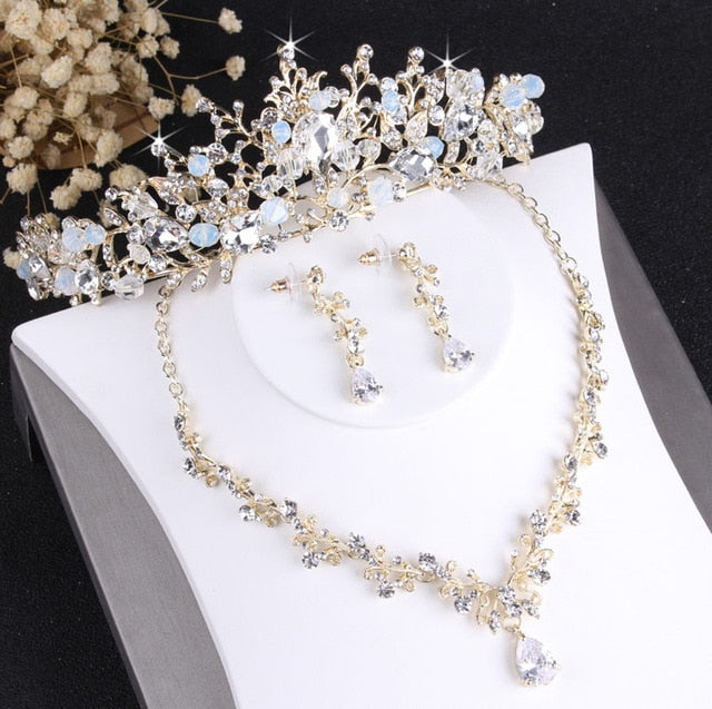 Baroque Crystal and Vintage Gold Tiara, Necklace & Earrings Fashion Wedding Jewelry Set
