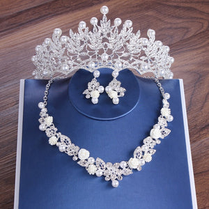 Crystal, Pearl, Flower and Rhinestone Tiara, Necklace & Earrings Jewelry Set