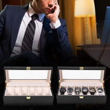 6/10/12 Slots Black Wooden Watch Box, Organizer, Display, Case & Holder