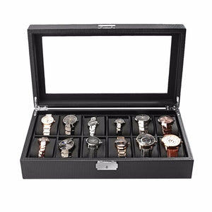 High-Grade 12-Slot Black Carbon Fiber Watch Box, Organizer, Holder, Storage & Container