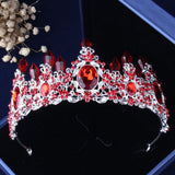 Silver-Plated Red Crystal, Flowers and Rhinestone Tiara, Necklace & Earrings Jewelry Set