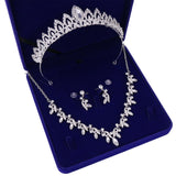 Silver-Plated Crystal and Rhinestone Tiara, Necklace and Earrings Jewelry Set