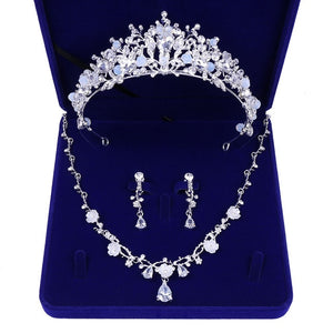 Silver-Plated Rhinestone, Beads and Crystal Tiara, Necklace & Earrings Jewelry Set