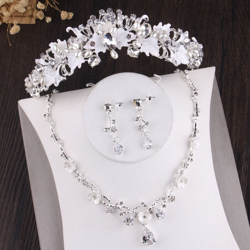 Silver, Crystal, Leaf, Pearl and Rhinestone Tiara, Necklace & Earrings Jewelry Set