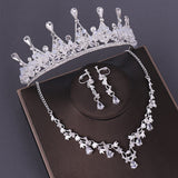 Crystal, Beads and Rhinestone Tiara, Necklace & Earrings Wedding Jewelry Set
