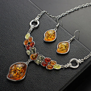 Colorful Baltic Synthetic Amber Necklace & Earrings Jewelry Set