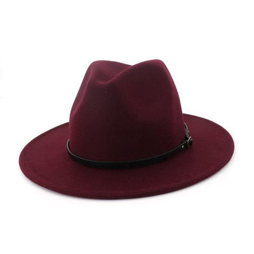 Flat Wide Brim Wool Felt Fedora Hat with Belt Buckle