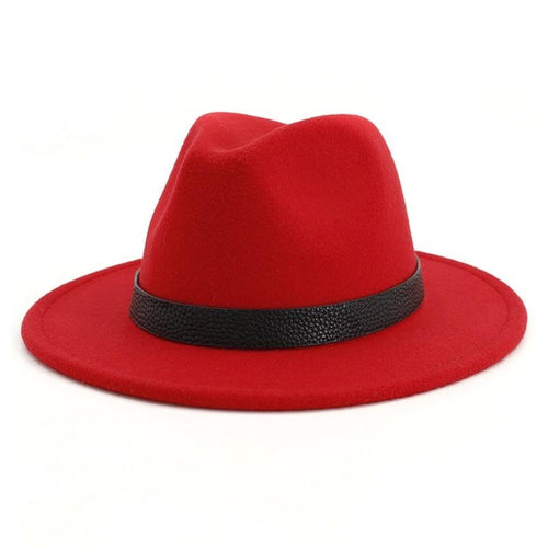 Classical Flat Brim Wool Felt Fedora Hat with Belt Band