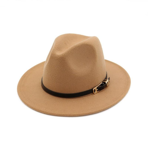 Belt Buckle Decor Flat Brim Wool Felt Fedora Hat