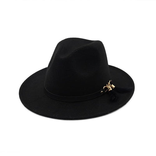 Wide Brim Wool Felt Fedora Hat with Feather Fringes Decoration