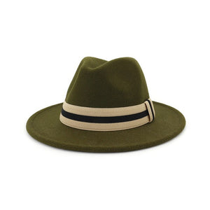 Ribbon Decor Flat Brim Faux Wool Felt Fedora Hat