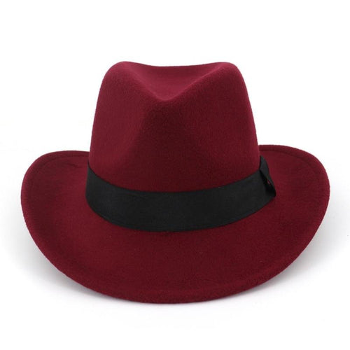 Wide Brim Wool Felt Western Cowboy Fedora Hat with Black Hatband