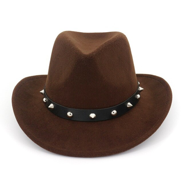 Wool Felt Western Cowboy Hat with Rivets on Leather Band