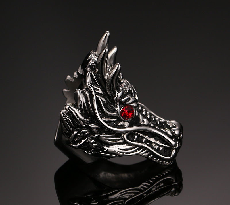 Dragon Head with Red CZ jewel Eyes Stainless Steel Ring - Innovato Store