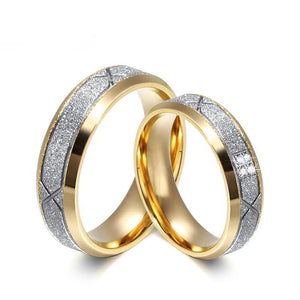 Couple Frosted Matte Bling Surface with CZ Stone with Gold Plated Stainless Steel Wedding Ring - Innovato Store