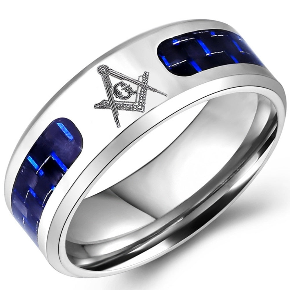 Stainless Steel with Blue and Black Carbon Fiber Cut-out Inlay with Masonic Ring