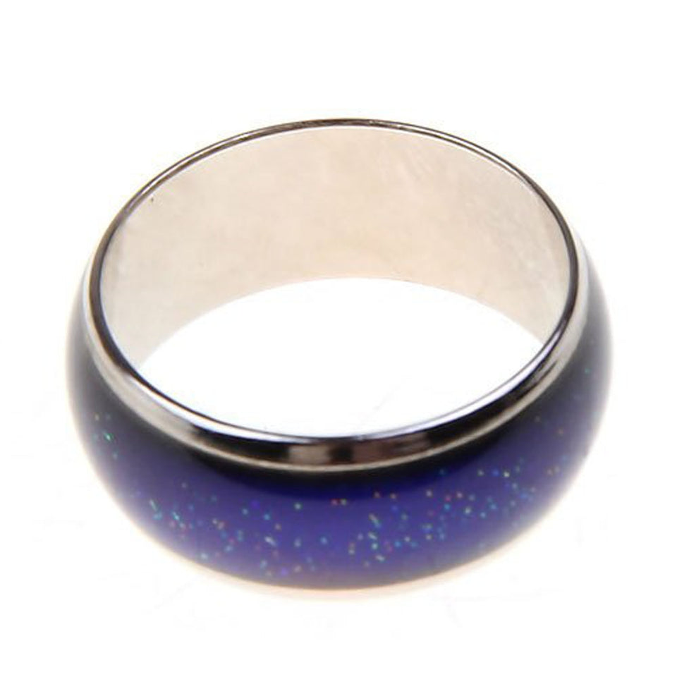 Stainless Zinc Alloy Mood Ring with Temperature Sensitive Inlay That Changes Colors with Your Mood