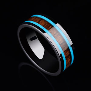 8mm Black Tone Ceramic Wedding Ring for Men with Koa Wood and Two Pieces of Ceramic Lines Inlay - Innovato Store