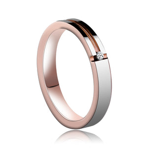 Ladies Rose Gold Plated Tungsten Wedding Ring with Clear White Circle Rhinestone Zircon - Innovato Store