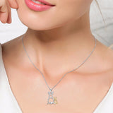 925 Sterling Silver Mother and Baby Rabbit Pendant Necklace