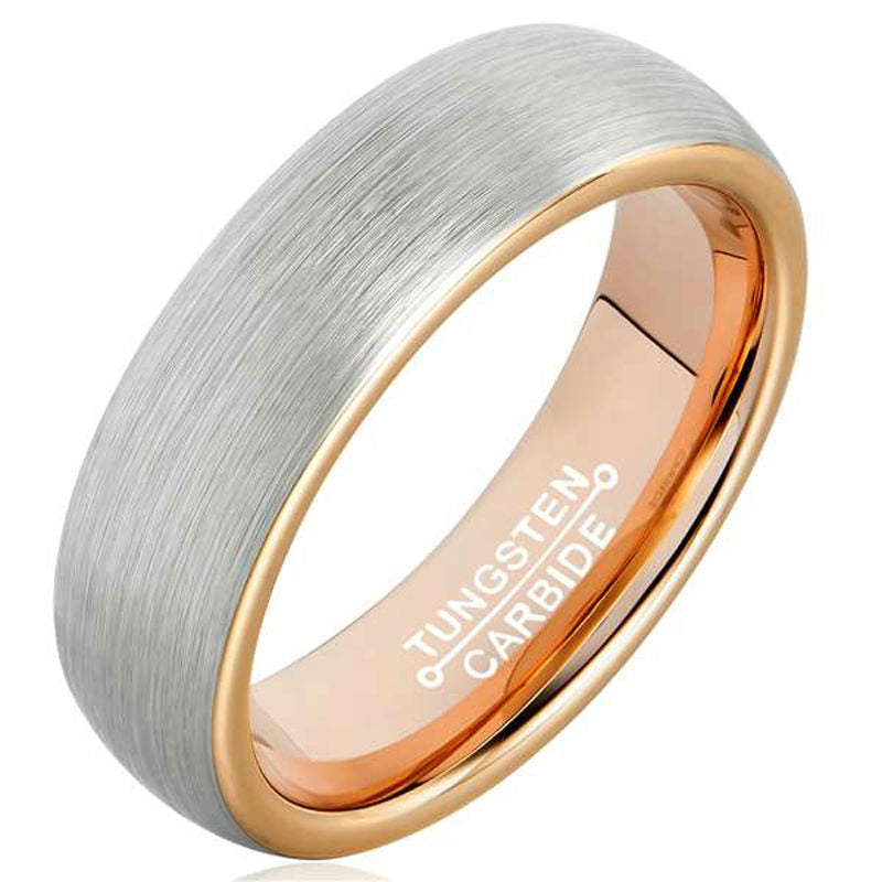 6mm Double Colored Tungsten Carbide Wedding Ring for Couples with Rose Gold Plated Inside