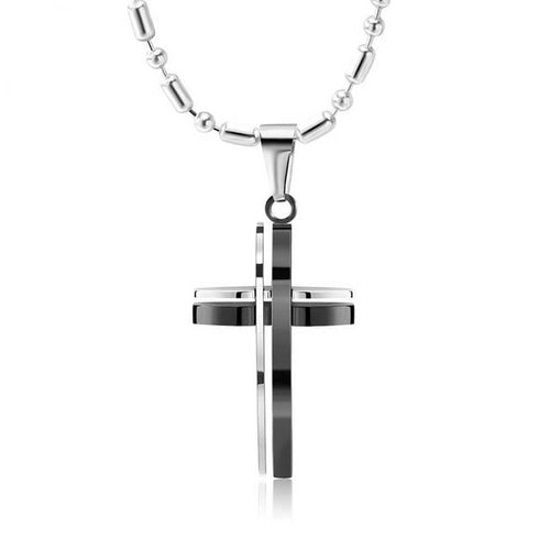 Men's Silver Plated Stainless Steel Cross Pendant Necklace