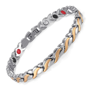Flower Shape Gold & Silver Plated Magnetic Bracelet
