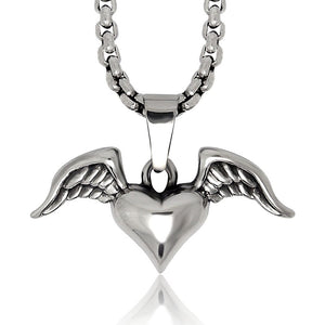 Silver Tone Stainless Steel Bat Wing and Angel Wing Pendant