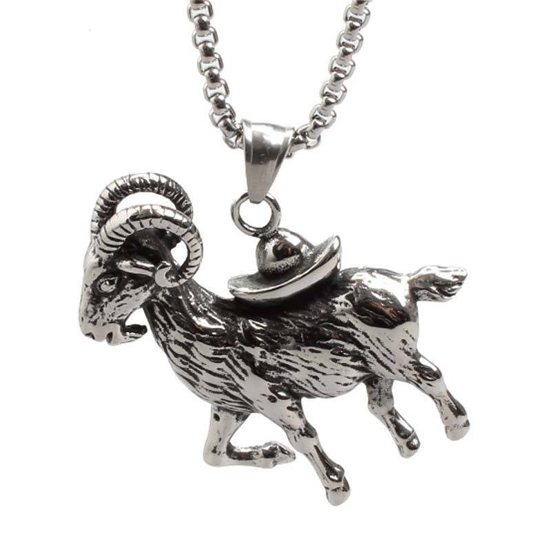 Punk Goat Pendant Necklace Jewelry for Men
