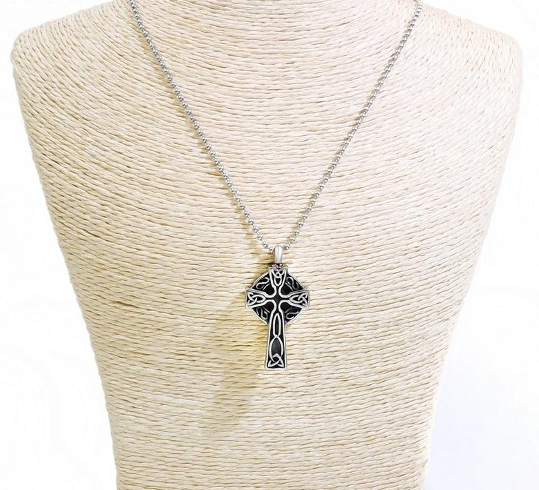 Stainless Steel Cross Cremation Keepsake Urn Memorial Pendant Necklace