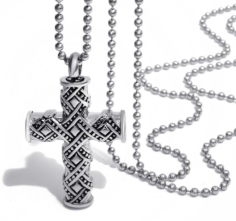 Silver and Black Cross Keepsake Urn for Ashes Memorial Pendant Necklace