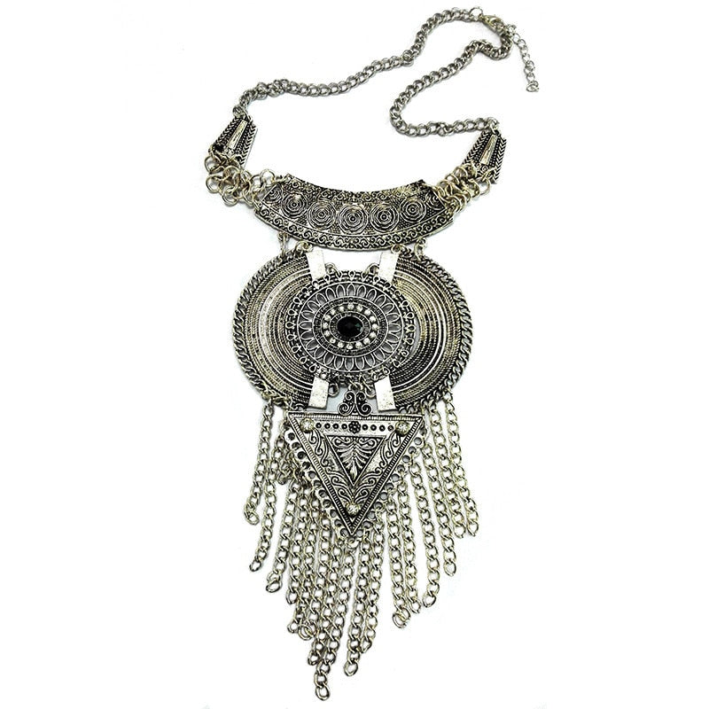 Golden Boho Ethnic with Cubic Zirconia Statement Necklace