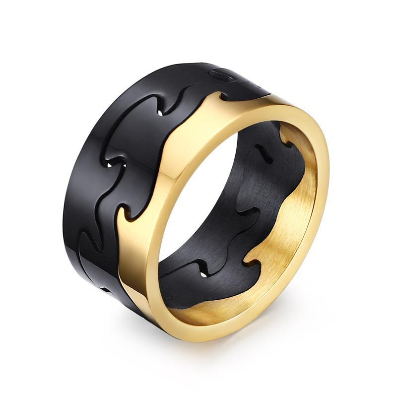 Exclusive 3 - Piece Removable Puzzle Gold and Black Stainless Steel Ring - Innovato Store