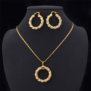 Two Tone Gold and Silver Earrings and Necklace Set