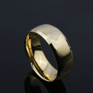 Stainless Steel Beveled Edges Ring with Masonic Symbol Band