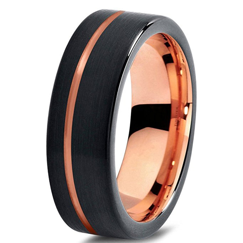 His & Hers Wedding Bands Set - Brushed Matte Black Tungsten Carbide with Rose Gold Line