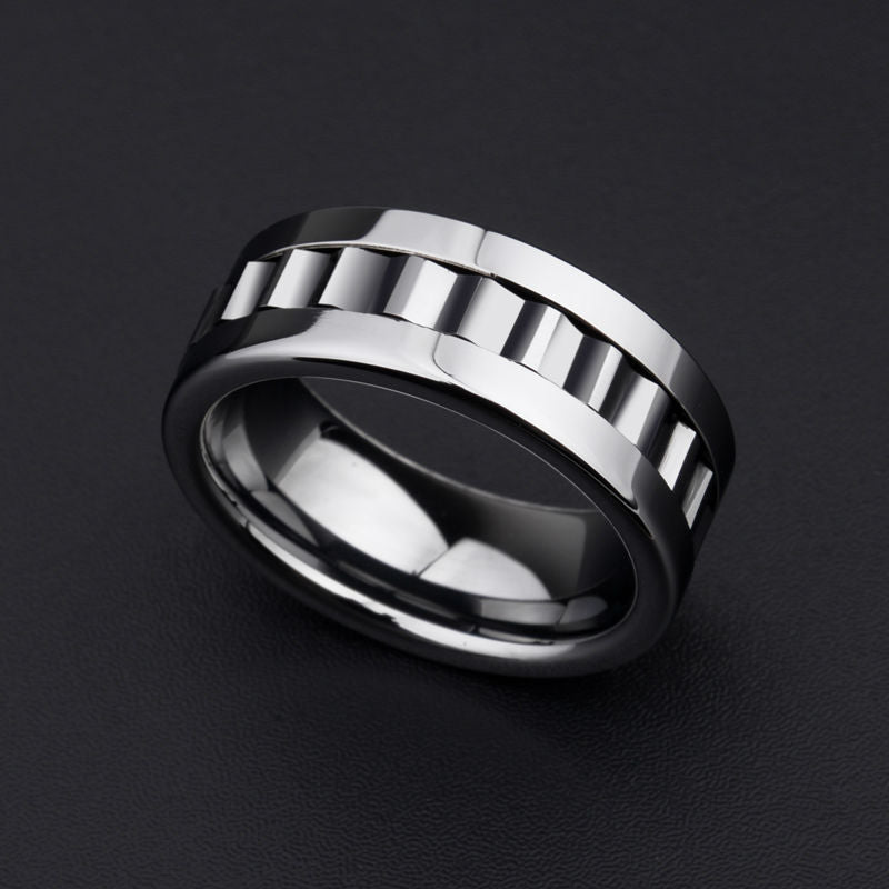 8mm Polished Silver Tone Tungsten Geometric Rotary Gear Comfortable Wedding Ring - Innovato Store