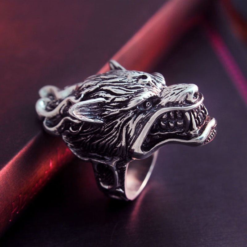925 Sterling Silver Wolf Head Biker Ring - Innovato Store