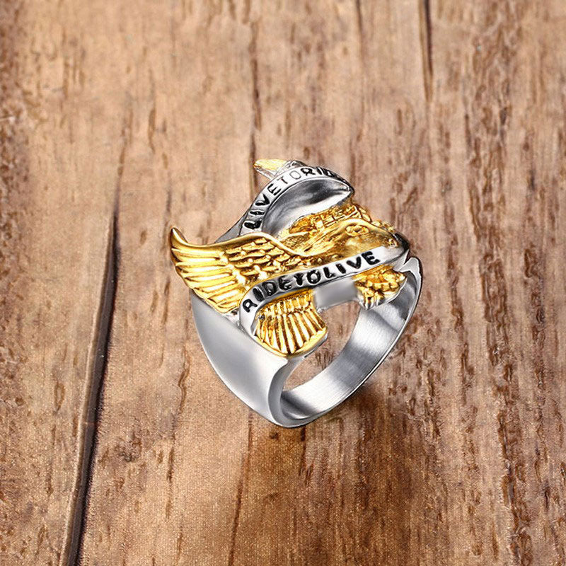 "23mm ""Live To Ride, Ride to Live"" Dual Toned Stainless-Steel Men's Eagle Cocktail Ring - Innovato Store"