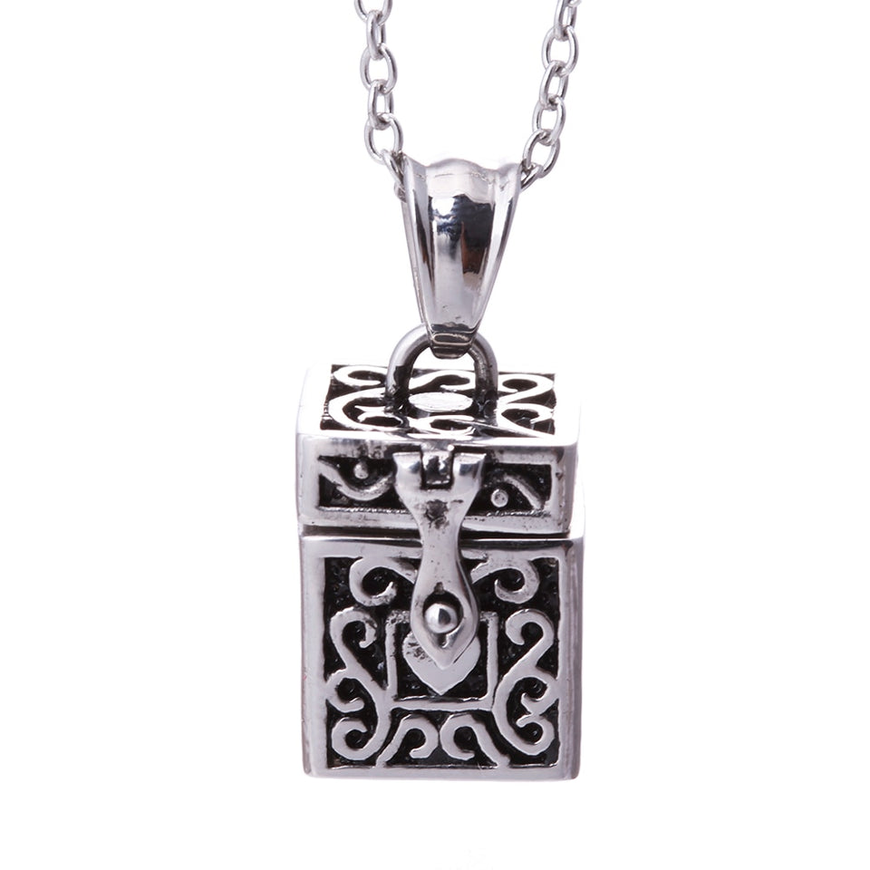 Silver Lovely Box Locket Pendant Necklace
