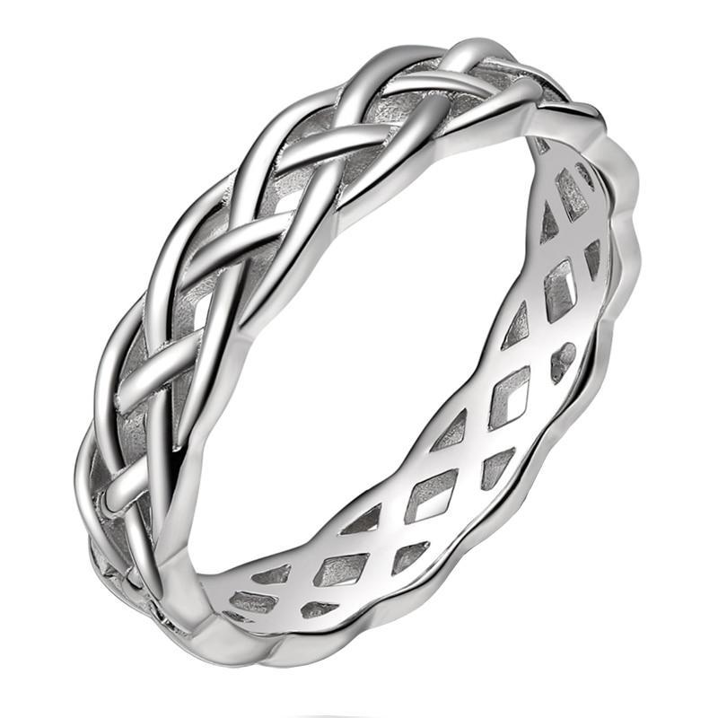 Celtic Knot 925 Sterling Silver High Polished Eternity 4mm Wedding Ring for Women